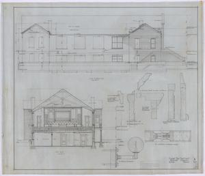 Primary view of object titled 'First Baptist Church, Rule, Texas: Side Elevation and Section Drawings'.