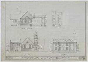 Primary view of object titled 'Methodist Church Additions, Merkel, Texas: Plans for an Addition to the Methodist Church, North, South, and West Elevations'.