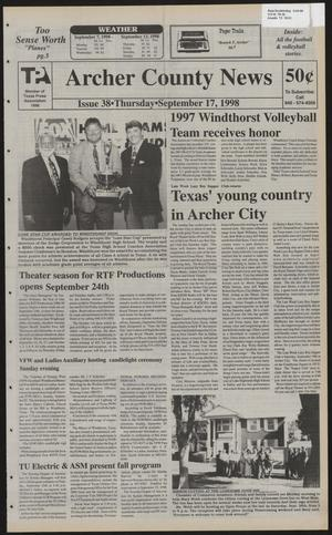Primary view of object titled 'Archer County News (Archer City, Tex.), No. 38, Ed. 1 Thursday, September 17, 1998'.