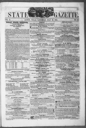 Primary view of object titled 'Texas State Gazette. (Austin, Tex.), Vol. 2, No. 49, Ed. 1, Saturday, July 26, 1851'.