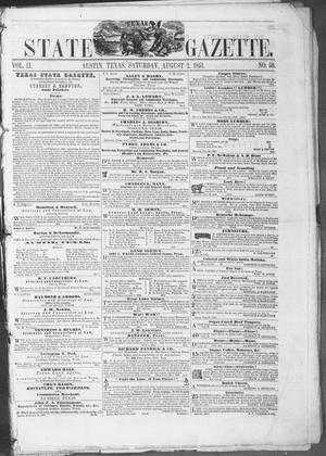 Primary view of object titled 'Texas State Gazette. (Austin, Tex.), Vol. 2, No. 50, Ed. 1, Saturday, August 2, 1851'.