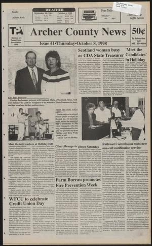 Primary view of object titled 'Archer County News (Archer City, Tex.), No. 41, Ed. 1 Thursday, October 8, 1998'.