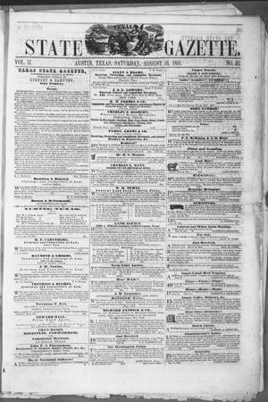 Primary view of object titled 'Texas State Gazette. (Austin, Tex.), Vol. 2, No. 52, Ed. 1, Saturday, August 16, 1851'.