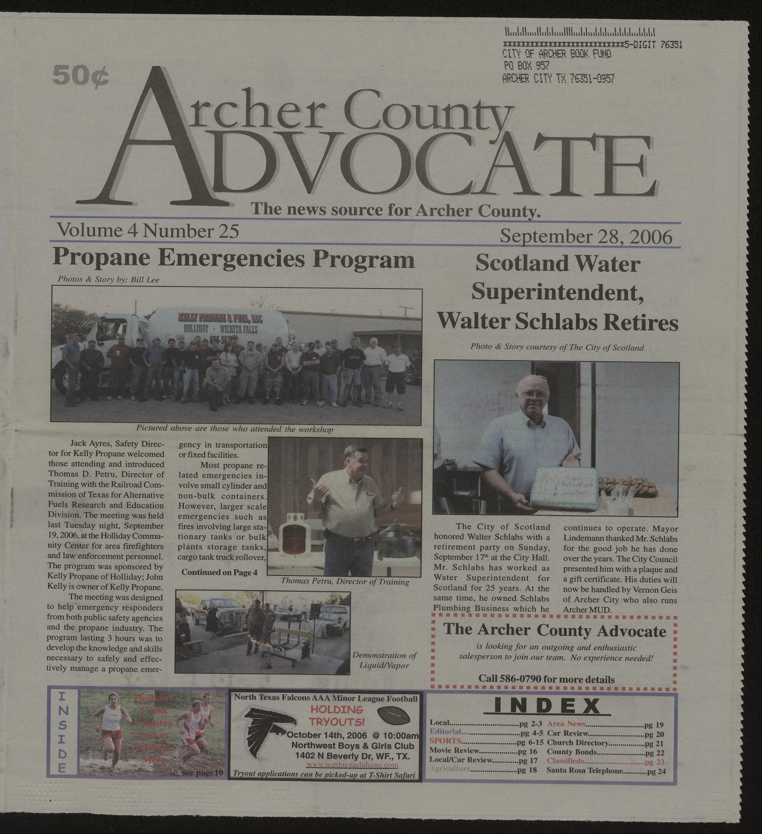 Texas archer county holliday 76366 - Archer County Advocate Holliday Tex Vol 4 No 25 Ed 1 Thursday September 28 2006 The Portal To Texas History