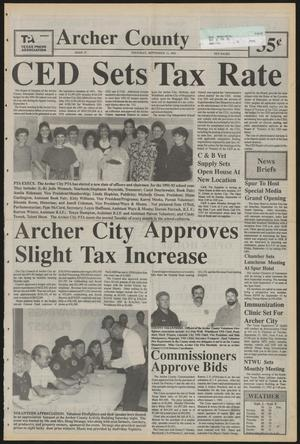 Primary view of object titled 'Archer County News (Archer City, Tex.), No. 37, Ed. 1 Thursday, September 12, 1991'.