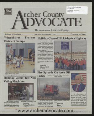 Primary view of object titled 'Archer County Advocate (Holliday, Tex.), Vol. 3, No. 45, Ed. 1 Thursday, February 16, 2006'.