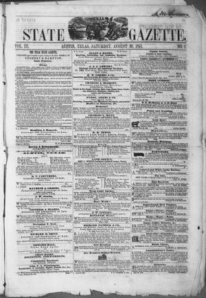 Primary view of Texas State Gazette. (Austin, Tex.), Vol. 3, No. 2, Ed. 1, Saturday, August 30, 1851