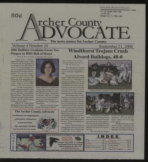 Primary view of object titled 'Archer County Advocate (Holliday, Tex.), Vol. 4, No. 24, Ed. 1 Thursday, September 21, 2006'.