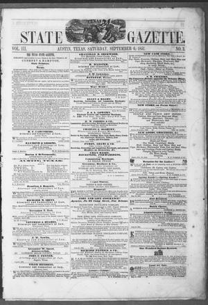 Primary view of object titled 'Texas State Gazette. (Austin, Tex.), Vol. 3, No. 3, Ed. 1, Saturday, September 6, 1851'.