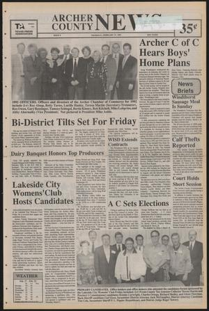 Primary view of object titled 'Archer County News (Archer City, Tex.), No. 9, Ed. 1 Thursday, February 27, 1992'.