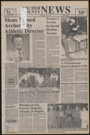 Primary view of object titled 'Archer County News (Archer City, Tex.), No. 15, Ed. 1 Thursday, April 9, 1992'.
