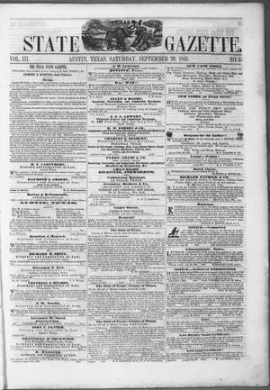 Primary view of object titled 'Texas State Gazette. (Austin, Tex.), Vol. 3, No. 5, Ed. 1, Saturday, September 20, 1851'.