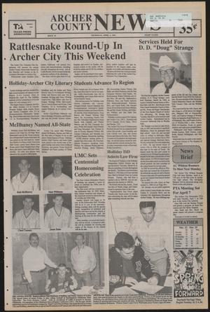 Primary view of object titled 'Archer County News (Archer City, Tex.), No. 14, Ed. 1 Thursday, April 2, 1992'.