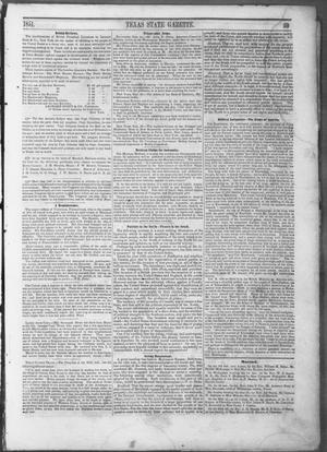 Primary view of object titled 'Texas State Gazette. (Austin, Tex.), Vol. 3, No. 8, Ed. 1, Saturday, October 11, 1851'.