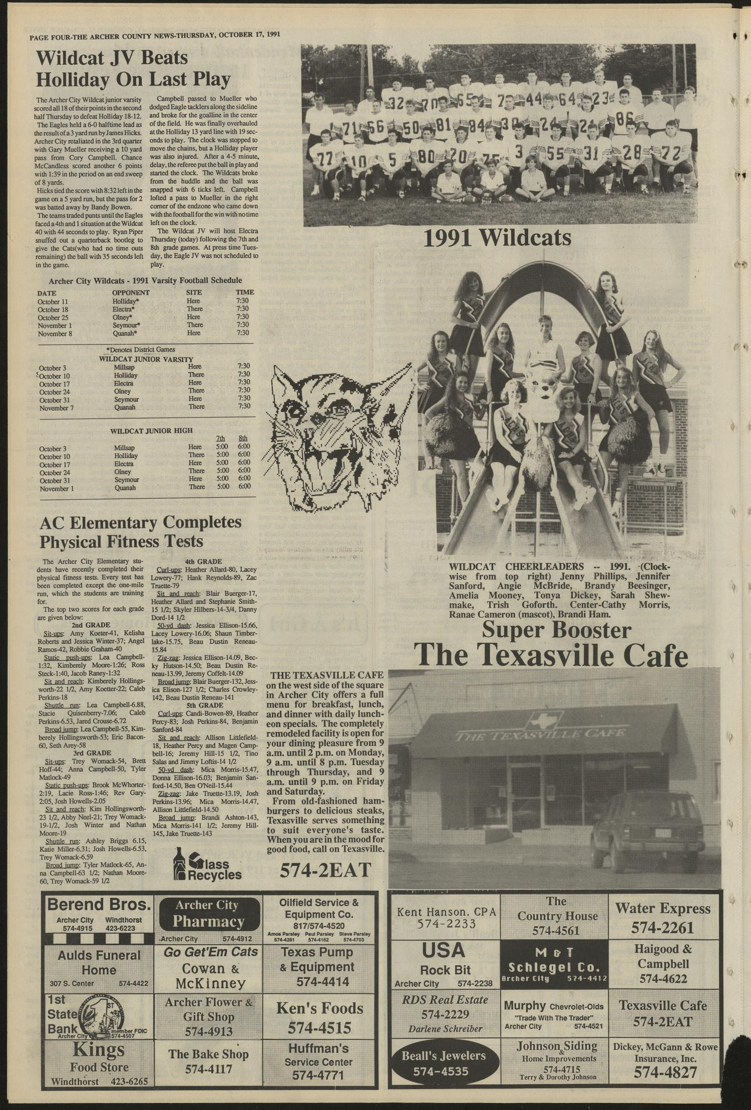 Archer County News (Archer City, Tex.), No. 42, Ed. 1 Thursday, October 17, 1991                                                                                                      [Sequence #]: 4 of 10