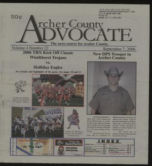 Primary view of object titled 'Archer County Advocate (Holliday, Tex.), Vol. 4, No. 22, Ed. 1 Thursday, September 7, 2006'.