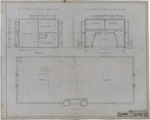 Primary view of object titled 'Eastland High School, Eastland, Texas: Basement Plan, Roof Plan, and Stage Plan'.