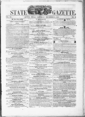Primary view of object titled 'Texas State Gazette. (Austin, Tex.), Vol. 3, No. 16, Ed. 1, Saturday, December 6, 1851'.