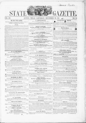 Primary view of object titled 'Texas State Gazette. (Austin, Tex.), Vol. 3, No. 18, Ed. 1, Saturday, December 20, 1851'.