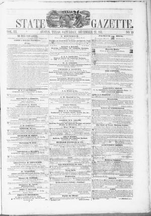 Primary view of object titled 'Texas State Gazette. (Austin, Tex.), Vol. 3, No. 19, Ed. 1, Saturday, December 27, 1851'.