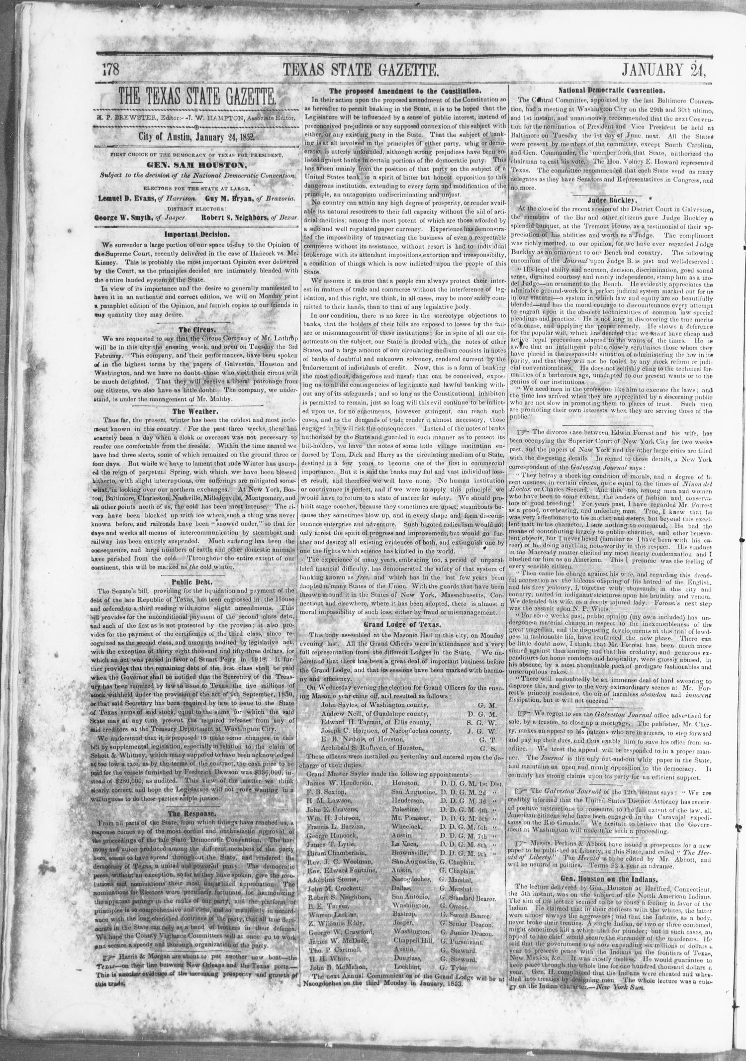 Texas State Gazette. (Austin, Tex.), Vol. 3, No. 23, Ed. 1, Saturday, January 24, 1852                                                                                                      [Sequence #]: 2 of 8