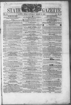 Primary view of object titled 'Texas State Gazette. (Austin, Tex.), Vol. 3, No. 30, Ed. 1, Saturday, March 13, 1852'.