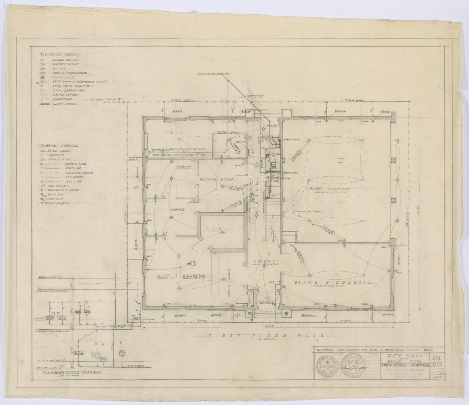 Hamlin City Hall: Electrical, Plumbing, and Gas Piping Plans