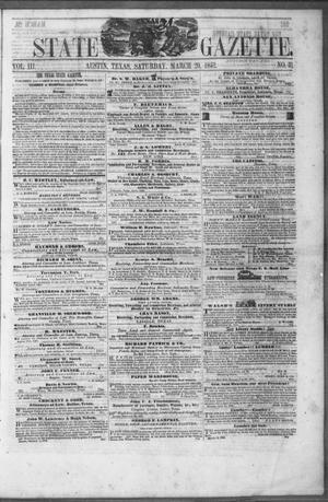 Primary view of object titled 'Texas State Gazette. (Austin, Tex.), Vol. 3, No. 31, Ed. 1, Saturday, March 20, 1852'.