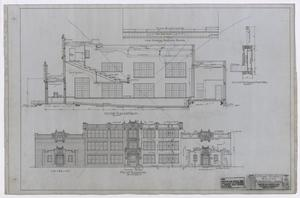 Primary view of object titled 'High School Building, Fort Stockton, Texas: Elevation and Section Plan'.