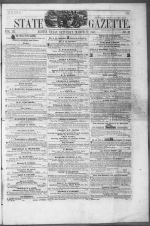 Primary view of object titled 'Texas State Gazette. (Austin, Tex.), Vol. 3, No. 32, Ed. 1, Saturday, March 27, 1852'.