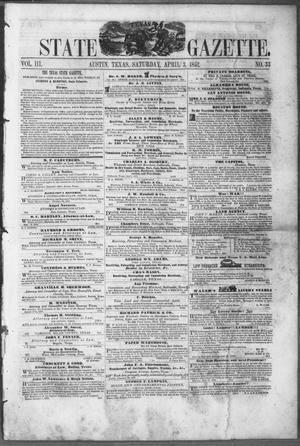 Primary view of object titled 'Texas State Gazette. (Austin, Tex.), Vol. 3, No. 33, Ed. 1, Saturday, April 3, 1852'.