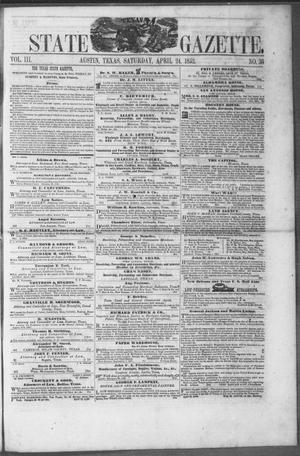 Primary view of object titled 'Texas State Gazette. (Austin, Tex.), Vol. 3, No. 36, Ed. 1, Saturday, April 24, 1852'.