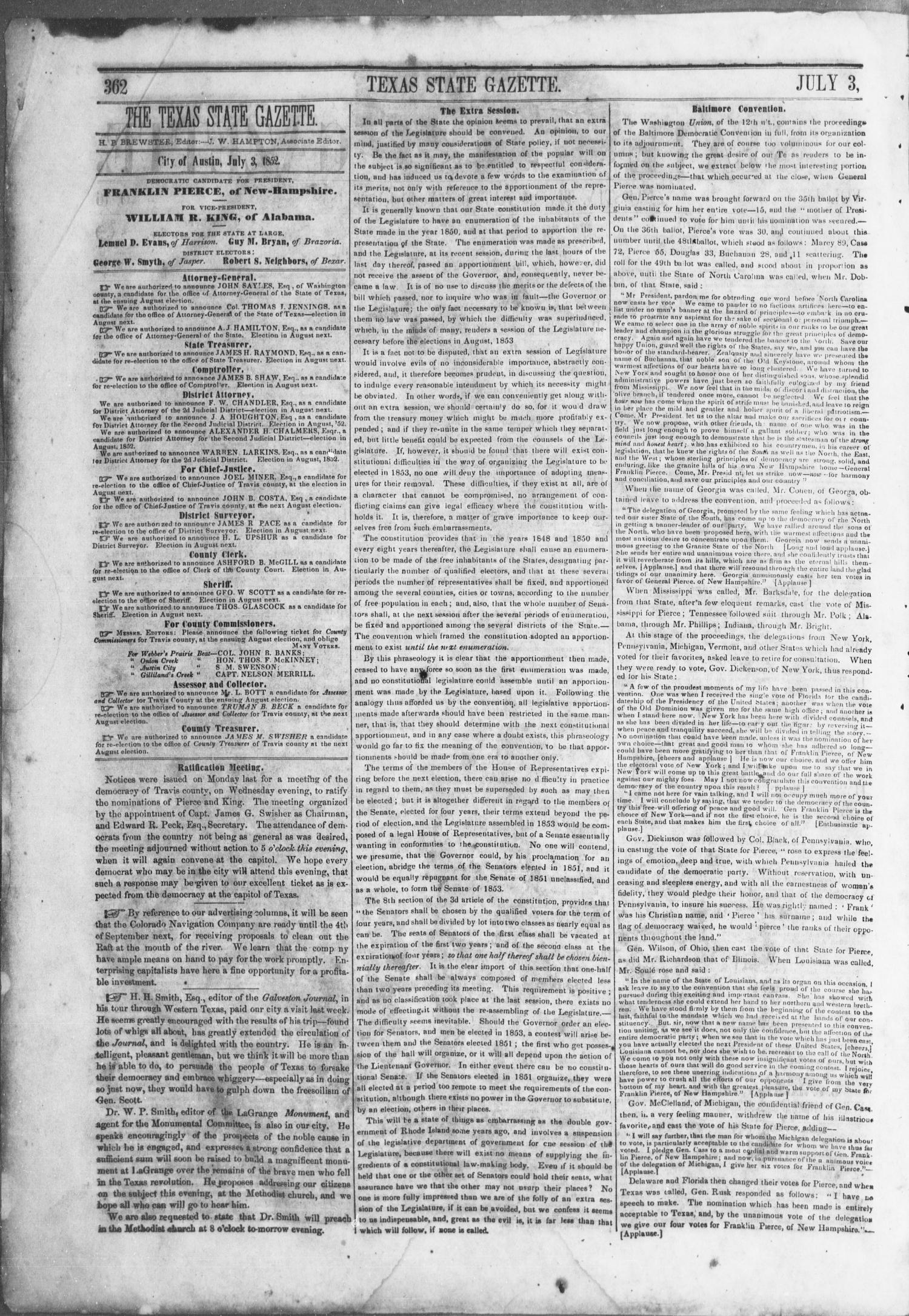Texas State Gazette. (Austin, Tex.), Vol. 3, No. 46, Ed. 1, Saturday, July 3, 1852                                                                                                      [Sequence #]: 2 of 8