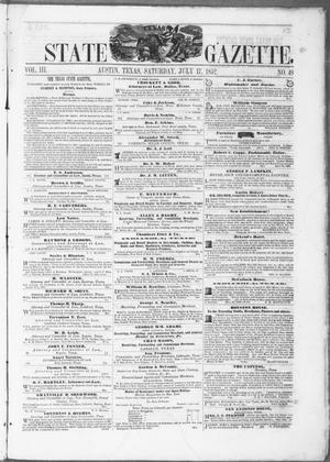 Primary view of object titled 'Texas State Gazette. (Austin, Tex.), Vol. 3, No. 48, Ed. 1, Saturday, July 17, 1852'.