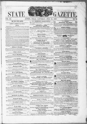 Primary view of object titled 'Texas State Gazette. (Austin, Tex.), Vol. 3, No. 50, Ed. 1, Saturday, July 31, 1852'.