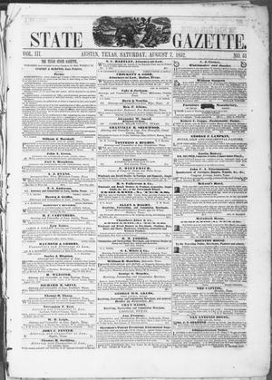 Primary view of object titled 'Texas State Gazette. (Austin, Tex.), Vol. 3, No. 51, Ed. 1, Saturday, August 7, 1852'.