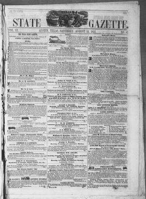 Primary view of object titled 'Texas State Gazette. (Austin, Tex.), Vol. 3, No. 52, Ed. 1, Saturday, August 14, 1852'.