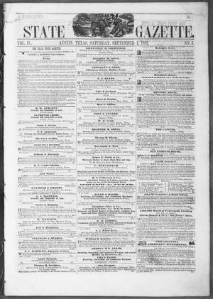 Primary view of object titled 'Texas State Gazette. (Austin, Tex.), Vol. 4, No. 3, Ed. 1, Saturday, September 4, 1852'.