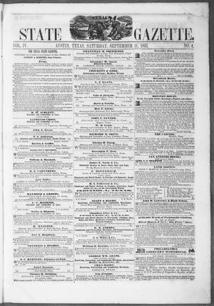 Primary view of object titled 'Texas State Gazette. (Austin, Tex.), Vol. 4, No. 4, Ed. 1, Saturday, September 11, 1852'.