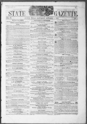 Primary view of object titled 'Texas State Gazette. (Austin, Tex.), Vol. 4, No. 7, Ed. 1, Saturday, October 2, 1852'.