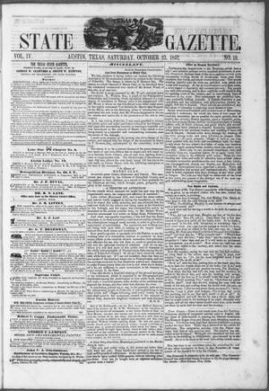Primary view of object titled 'Texas State Gazette. (Austin, Tex.), Vol. 4, No. 10, Ed. 1, Saturday, October 23, 1852'.