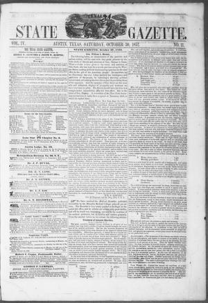 Primary view of object titled 'Texas State Gazette. (Austin, Tex.), Vol. 4, No. 11, Ed. 1, Saturday, October 30, 1852'.