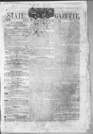 Primary view of object titled 'Texas State Gazette. (Austin, Tex.), Vol. 4, No. 14, Ed. 1, Saturday, November 20, 1852'.