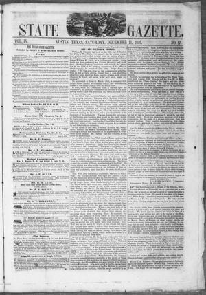 Primary view of object titled 'Texas State Gazette. (Austin, Tex.), Vol. 4, No. 17, Ed. 1, Saturday, December 11, 1852'.