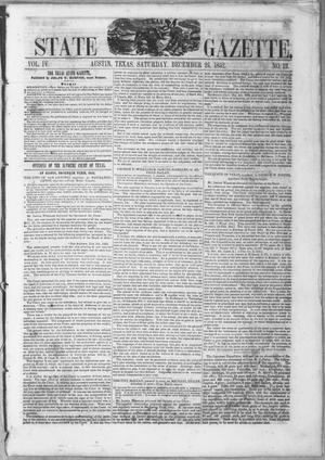 Primary view of object titled 'Texas State Gazette. (Austin, Tex.), Vol. 4, No. 19, Ed. 1, Saturday, December 25, 1852'.