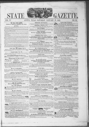Primary view of object titled 'Texas State Gazette. (Austin, Tex.), Vol. 4, No. 23, Ed. 1, Saturday, January 22, 1853'.