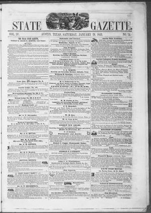 Primary view of object titled 'Texas State Gazette. (Austin, Tex.), Vol. 4, No. 24, Ed. 1, Saturday, January 29, 1853'.