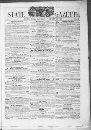 Primary view of object titled 'Texas State Gazette. (Austin, Tex.), Vol. 4, No. 26, Ed. 1, Saturday, February 12, 1853'.