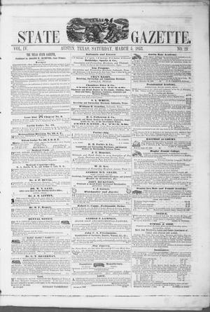 Primary view of object titled 'Texas State Gazette. (Austin, Tex.), Vol. 4, No. 29, Ed. 1, Saturday, March 5, 1853'.
