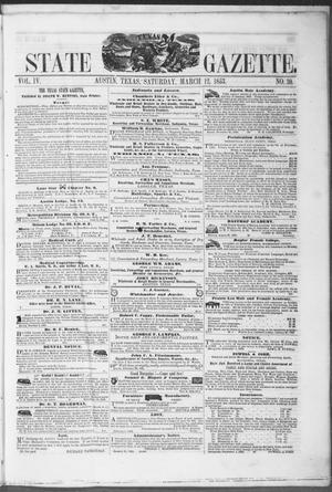 Primary view of object titled 'Texas State Gazette. (Austin, Tex.), Vol. 4, No. 30, Ed. 1, Saturday, March 12, 1853'.
